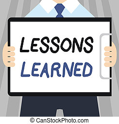 Word writing text Lessons Learned. Business concept for...