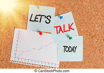 Word writing text Let S Is Talk. Business concept for suggesting in the beginning of a conversation on the topic Corkboard color size paper pin thumbtack tack sheet billboard notice board.