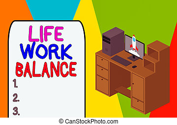 Word writing text Life Work Balance. Business concept for stability demonstrating needs between his job and demonstratingal time Working desktop station drawers personal computer launching rocket clouds.