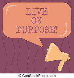 Word writing text Live On Purpose. Business concept for Have a goal mission motivation to keep going inspiration Megaphone photo and Blank Rectangular Color Speech Bubble with Reflection.