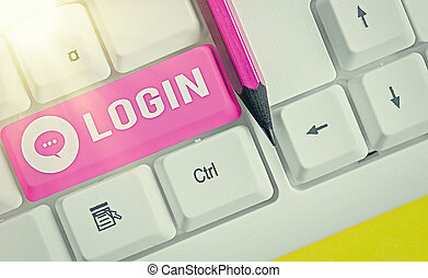 Word writing text Login. Business photo showcasing process by which an individual gains access to a computer system