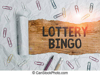 Word writing text Lottery Bingo. Business concept for game of chance in which each player matches numbers printed.