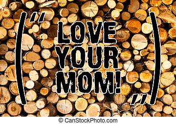 Word writing text Love Your Mom. Business concept for Have good feelings about your mother Loving emotions Wooden background vintage wood wild message ideas intentions thoughts.