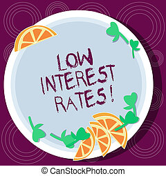 Word writing text Low Interest Rates. Business concept for meant to stimulate economic growth making it cheaper Cutouts of Sliced Lime Wedge and Herb Leaves on Blank Round Color Plate.