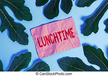 Word writing text Lunchtime. Business concept for Meal in ...