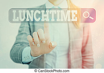 Word writing text Lunchtime. Business concept for the time ...