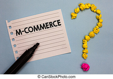 Word writing text M Commerce. Business concept for...