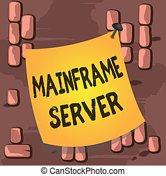Word writing text Mainframe Server. Business concept for designed for processing large amounts of information Curved reminder paper memo nailed colorful surface stuck blank pin frame.