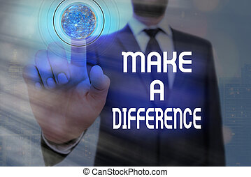 Word writing text Make A Difference. Business concept for Personal development and career growth or change yourself Elements of this image furnished by NASA.