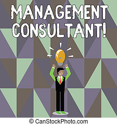 Word writing text Management Consultant. Business concept for gives professional advice about how to run a company Businessman Standing Raising Arms Upward with Lighted Bulb Icon on his Head.