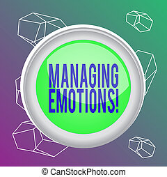 Word writing text Managing Emotions. Business concept for ability be open to feelings and modulate them in oneself Circle button colored sphere switch center background middle round shaped.