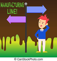 Word writing text Manufacturing Line. Business concept for set of sequential operations established in a factory Man Confused with the Road Sign Arrow Pointing to Opposite Side Direction.