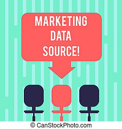 Word writing text Marketing Data Source. Business concept for connection set up to a database from a server Blank Space Color Arrow Pointing to One of the Three Swivel Chairs photo.