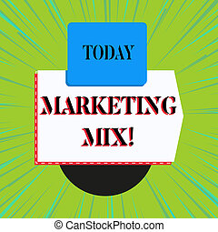 Word writing text Marketing Mix. Business concept for Set of actions uses to promote the brand in the market.
