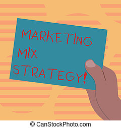Word writing text Marketing Mix Strategy. Business concept for Set of governable tactical marketing tool company use Drawn Hu analysis Hand Holding Presenting Blank Color Paper Cardboard photo.