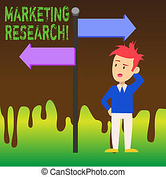 Word writing text Marketing Research. Business concept for process of determining the viability of a new service Man Confused with the Road Sign Arrow Pointing to Opposite Side Direction.