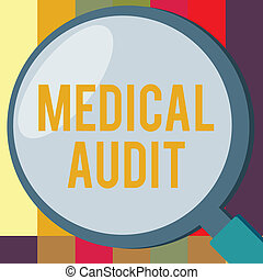 Word writing text Medical Audit. Business concept for Review of the professional standards of examinings in treating