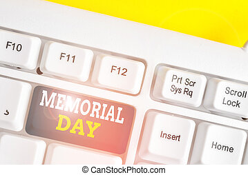 Word writing text Memorial Day. Business concept for remembering the military demonstratingnel who died in service White pc keyboard with empty note paper above white background key copy space.