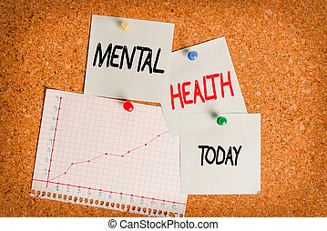 Word writing text Mental Health. Business concept for an individuals condition regard to their psychological well being Corkboard color size paper pin thumbtack tack sheet billboard notice board.