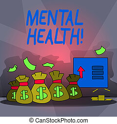 Word writing text Mental Health. Business concept for Psychological and Emotional Condition Wellbeing of a demonstrating.