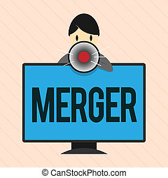 Word writing text Merger. Business concept for combination of two things especially companies flats into one