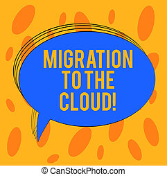 Word writing text Migration To The Cloud. Business concept for Transfer data to online file storage tools apps Blank Oval Outlined Solid Color Speech Bubble Empty Text Balloon photo.