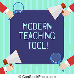 Word writing text Modern Teaching Tool. Business concept for Using technology as a tool for learning and developing Hu analysis Hands Each Holding Magnifying Glass and Megaphone on 4 Corners.