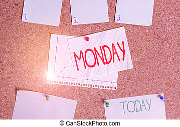 Word writing text Monday. Business concept for the day of the week after Sunday and before Tuesday Day of the Moon Corkboard color size paper pin thumbtack tack sheet billboard notice board.