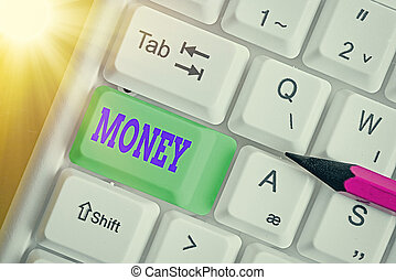 Word writing text Money. Business concept for a current medium of exchange in the form of coins and banknotes.