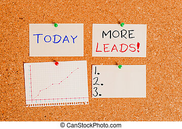 Word writing text More Leads. Business concept for initiation of consumer interest or enquiry into product Corkboard color size paper pin thumbtack tack sheet billboard notice board.