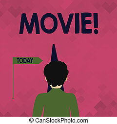 Word writing text Movie. Business photo showcasing Cinema or television film Motion picture Video displayed on screen Man Facing the Distance Ahead and Blocking the View of Straight Narrow Path