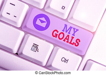 Word writing text My Goals. Business concept for a future or desired result that a demonstrating commits to achieve.