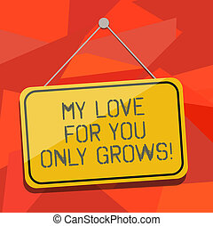 Word writing text My Love For You Only Grows. Business concept for Expressing roanalysistic feelings good emotions Blank Hanging Color Door Window Signage with Reflection String and Tack.