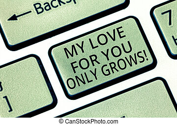 Word writing text My Love For You Only Grows. Business concept for Expressing roanalysistic feelings good emotions Keyboard key Intention to create computer message, pressing keypad idea.