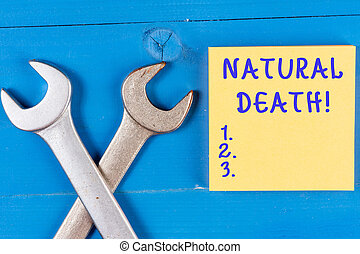 Word writing text Natural Death. Business concept for occurring in the course of nature and from natural causes.