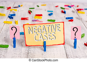 Word writing text Negative Cases. Business concept for circumstances or conditions that are confurmed to be false Scribbled and crumbling sheet with paper clips placed on the wooden table.