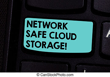 Word writing text Network Safe Cloud Storage. Business concept for Security on new online storage technologies Keyboard key Intention to create computer message pressing keypad idea.