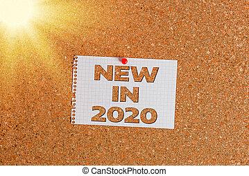 Word writing text New In 2020. Business concept for what will be expecting or new creation for the year 2020 Corkboard color size paper pin thumbtack tack sheet billboard notice board.