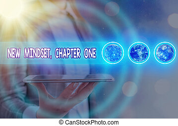Word writing text New Mindset, Chapter One. Business concept for change on attitudes and thinking Improve hard work Futuristic icons solar system. Elements of this image furnished by NASA.