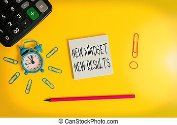 Word writing text New Mindset New Results. Business concept for obstacles are opportunities to reach achievement Alarm clock calculator clips rubber band pencil notepad colored background.