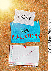 Word writing text New Regulations. Business concept for rules made government order control something done Corkboard color size paper pin thumbtack tack sheet billboard notice board.