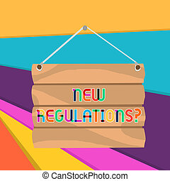 Word writing text New Regulations question. Business concept for rules made government order to control way something is done.