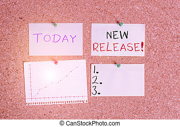 Word writing text New Release. Business concept for announcing something newsworthy recent product Corkboard color size paper pin thumbtack tack sheet billboard notice board.