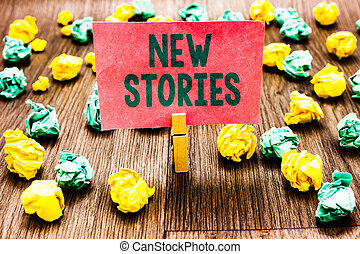 Word writing text New Stories. Business concept for ...