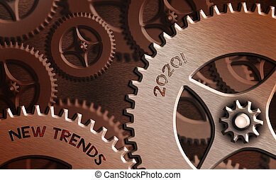 Word writing text New Trends 2020. Business concept for general direction in which something is developing.