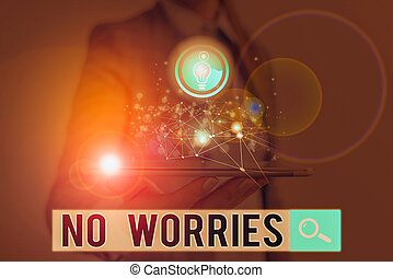 Word writing text No Worries. Business concept for an expression used to say that everything is all right.