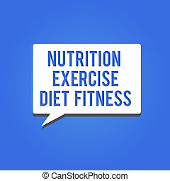Word writing text Nutrition Exercise Diet Fitness. Business ...