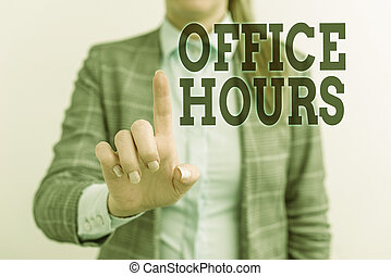 Word writing text Office Hours. Business concept for The ...