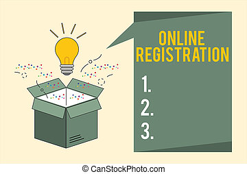 Word writing text Online Registration. Business concept for Process to Subscribe to Join an event club via Internet