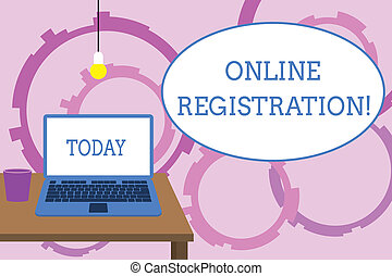 Word writing text Online Registration. Business concept for Process to Subscribe to Join an event club via Internet Front view open laptop lying on wooden desktop light bulb falling glass.